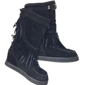 Black Fringed Moccasin Boots